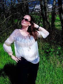 """""""YOLANDA"""" BLOUSE WITH A GOLD BAND  *BELL SLEEVES (BEIGE) ONE SIZE"""