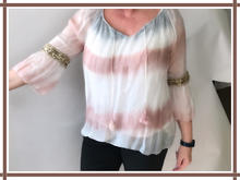 """""""YOLANDA"""" BLOUSE WITH A GOLD BAND BELL SLEEVES (LIGHT BLUE) ONE SIZE"""