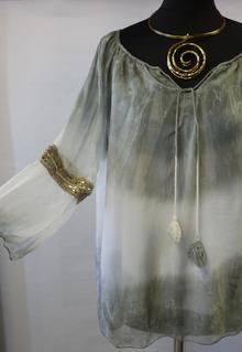"""""""YOLANDA"""" BLOUSE WITH A GOLD BAND BELL SLEEVES (PINK) ONE SIZE"""