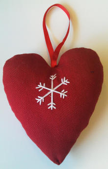 Hjärta rött m. snöstjärna