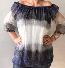 """""""BRANDI"""" BLOUSE WITH LACE BELL SLEEVES (BLUE) ONE SIZE * BY ANNAKAY"""