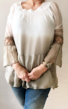 """""""JOYCE"""" BLOUSE WITH DETAILED BELL SLEEVES (BEIGE) ONE SIZE * BY, ANNAKAY"""