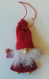 Small hanging santa with a knitted hat